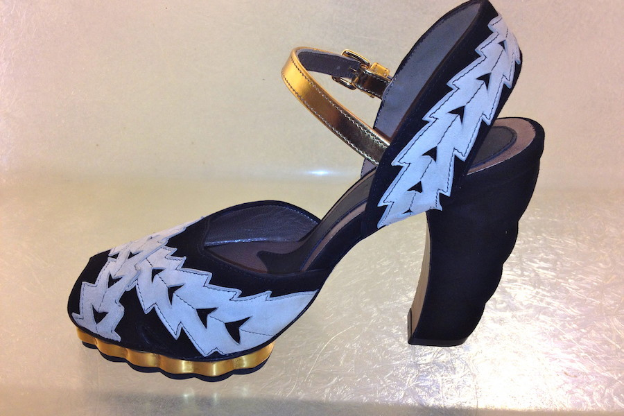 Marni Black and White Gold Strap Ivy Sandal