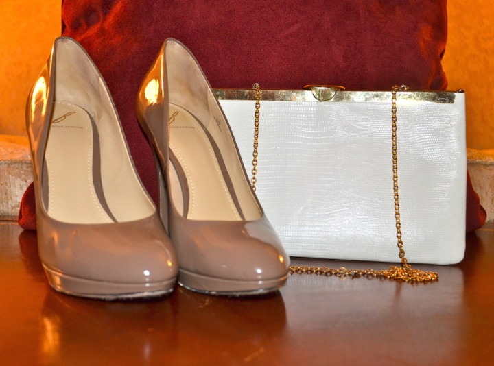 Brian Atwood Patent Leather and Vintage Gold Clutch
