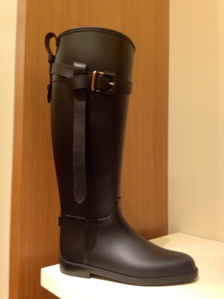 Burberry Black Boot Gold Buckle
