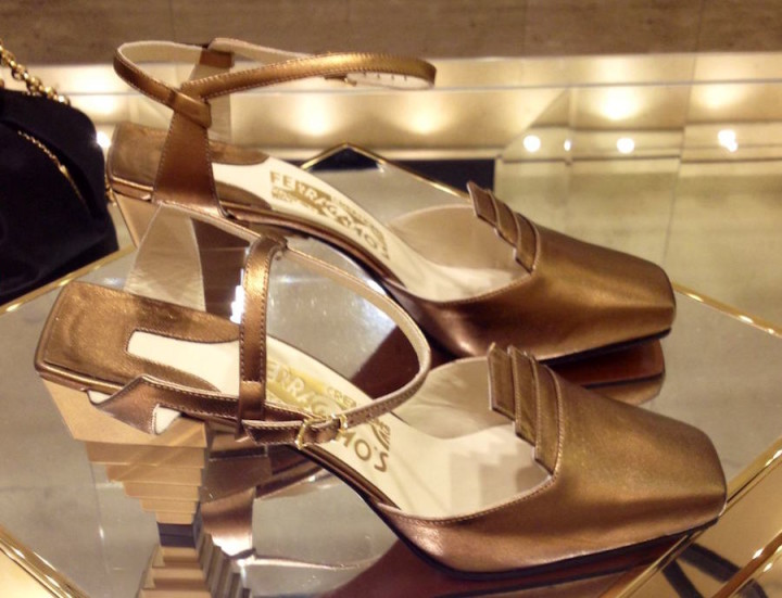 erragamo Gold Pyramid Sandals