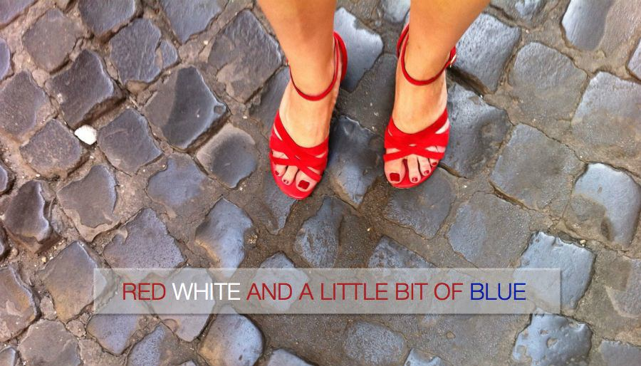 Red Suede Sandals in Rome