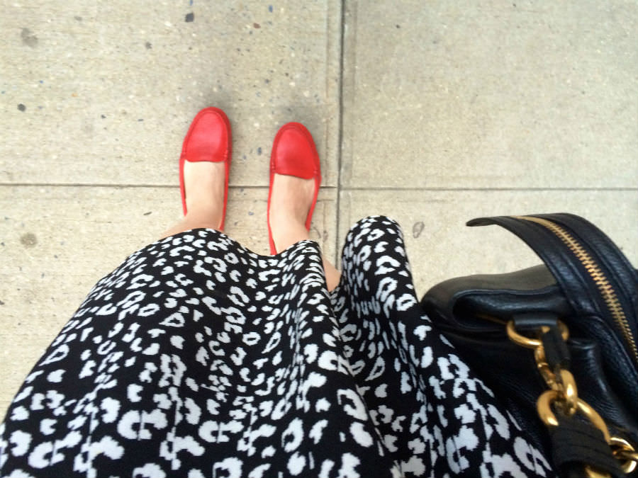Red Driving Loafers Leopard Dress