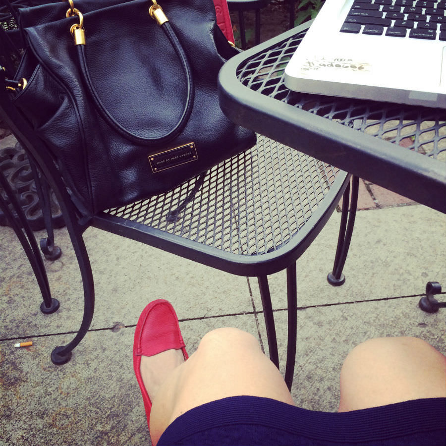 Red Driving Loafers and Marc Jacobs Bag