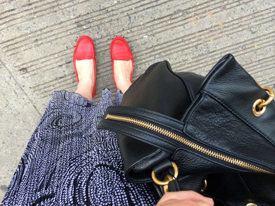 Red Driving Loafers w Italian Skirt