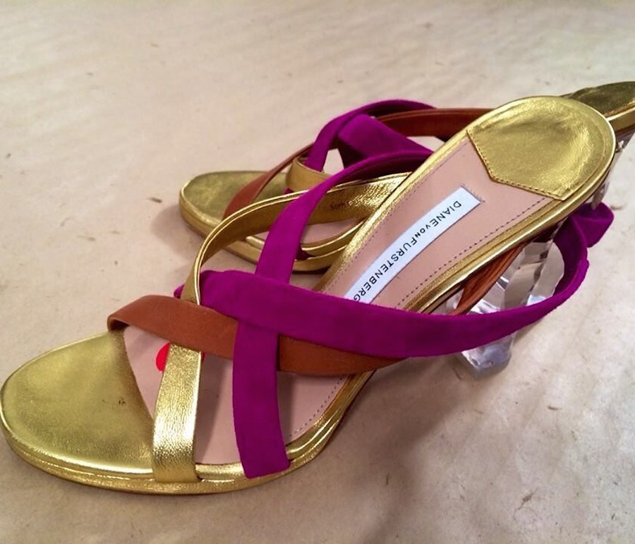 DVF SS16 Pink and Gold Sandals