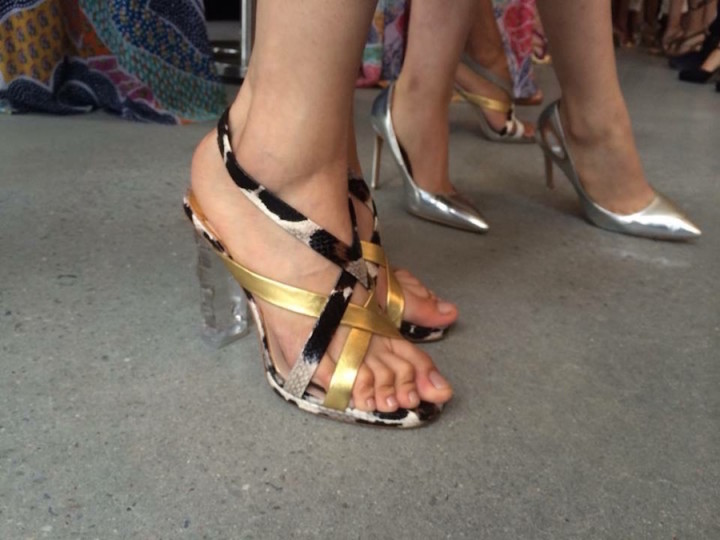 DVF Shoes SS16 Metallic Gold and Leopard Sandal