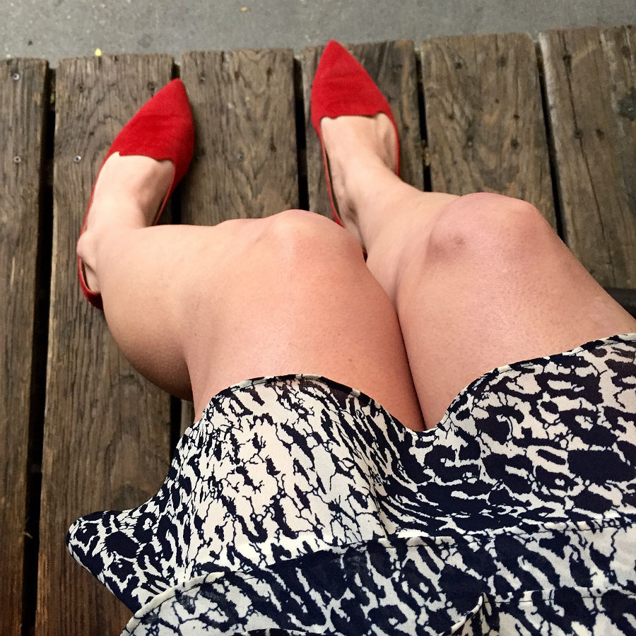 Red Smoking Slippers and Reiss Dress at Extra Virgin