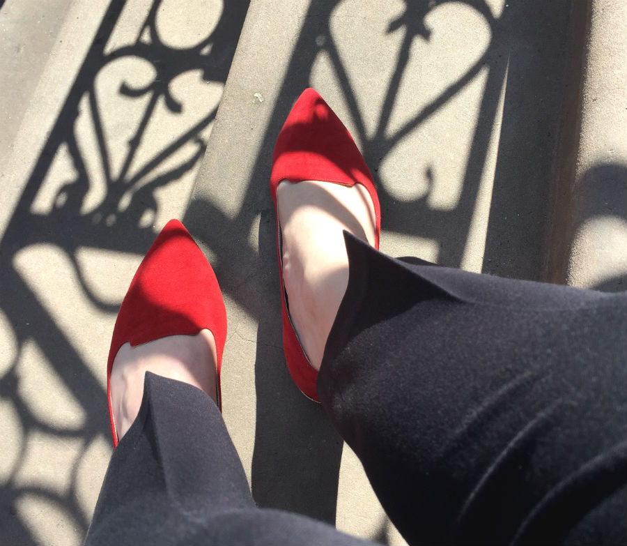 Red Suede Smoking Slippers on the Steps Perry Street West Village