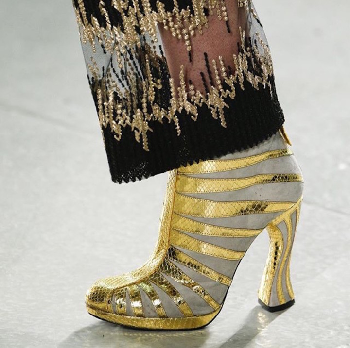 Rodarte NYFW SS16 gold striped ankle boots