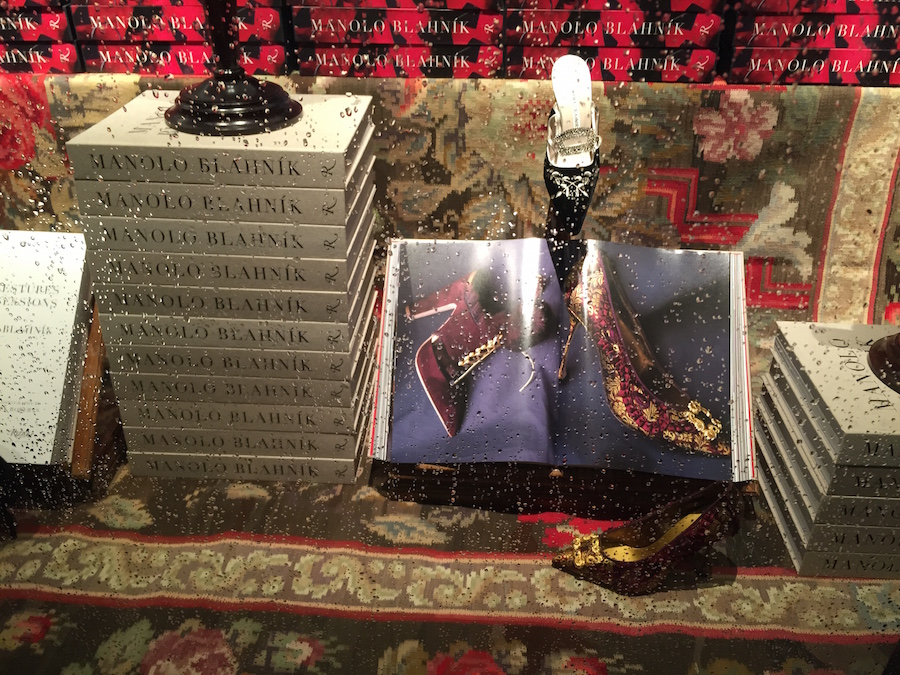 Manolo Blahnik Book - Window Display at Rizzoli - Burgundy and Gold