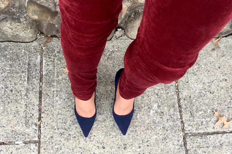 Royally Blue Manolos and Red Wine Velvet