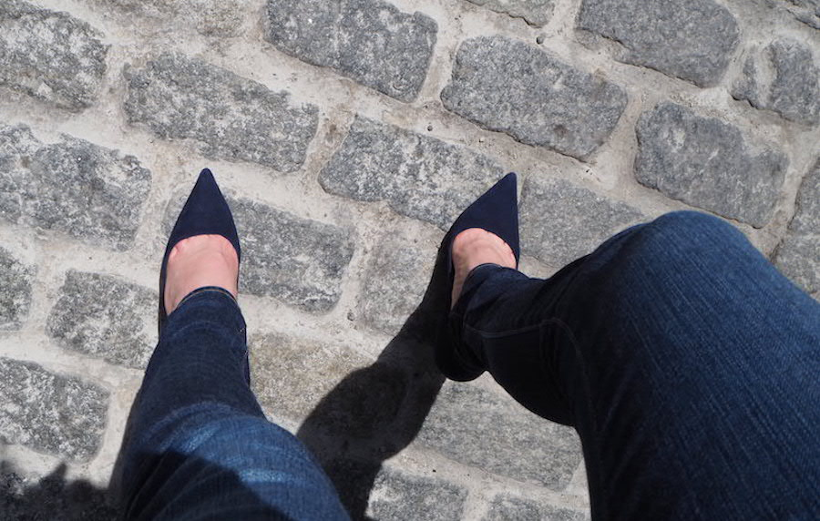 Denim and Suede Manolos on Cobblestones