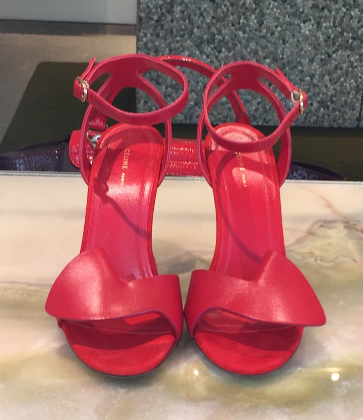 Celine Red Ankle Strap Sandals in the window