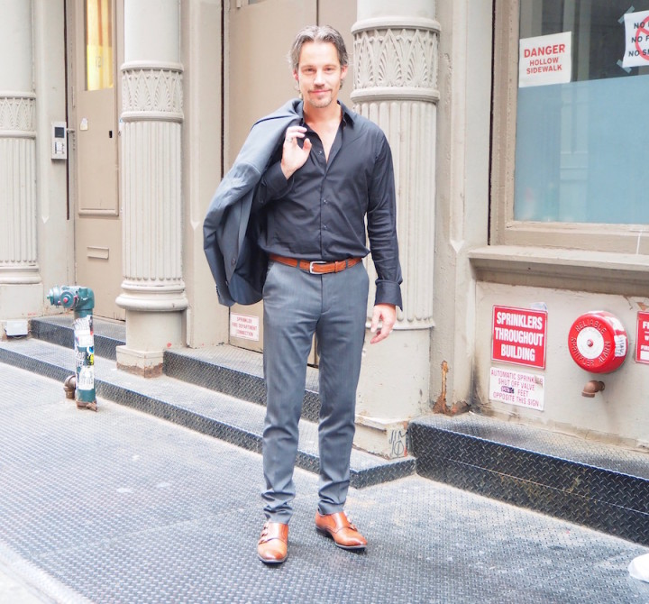 German Guy in SOHO 3 buckle Cognac Monk Straps