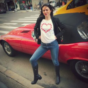 Red Vintage Convertible - Heart of Kisses - Black Boots - Uptown